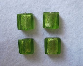 Set of 4 square glass and silver foil beads