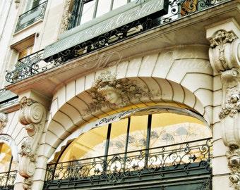 La Maison Guerlain -Paris France- Champs Elysees - French Perfume -Fine Art Photograph -Fashion Art-Green-Awning-Balcony-Parisian