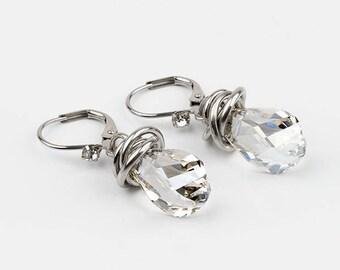 drop earrings, Swarovski Crystal, stainless steel
