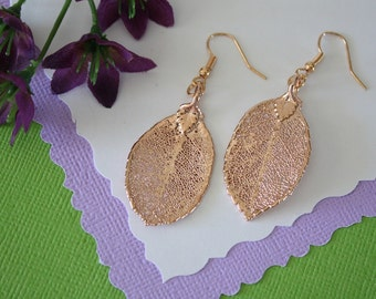 Rose Leaf Earrings Rose Gold, Rose Leaf, Small Size Earrings, 24kt Rose Gold Earrings, LESM205