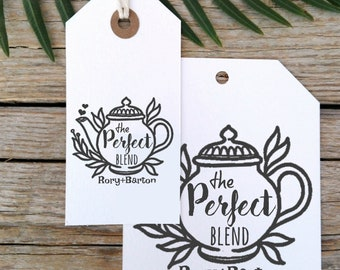 The Perfect Blend Teapot Wedding Custom Stamp, Wedding Custom Save the Date Stamp, DIY Wedding Favor Tag Stamp  -1749120418-