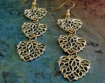 Vintage inspired GOLD FILIGREE Cascading Drop EARRINGS // Unique Gift for Her // Gift boxed