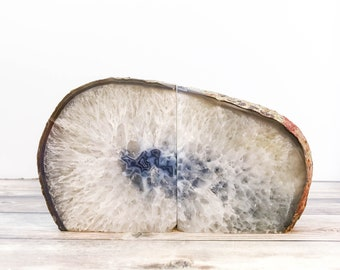 Agate Bookends Geode Bookends - Natural Stone Book Ends  White and Gray