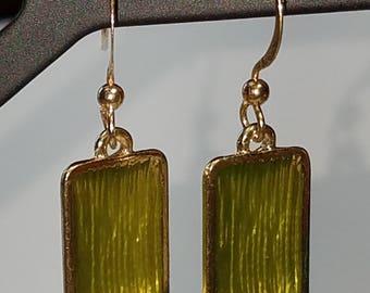 peridot colored enaimal earrinds