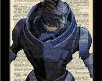 Mass Effect Inspired Garrus Vakarian Version Two Dictionary Print 8x11
