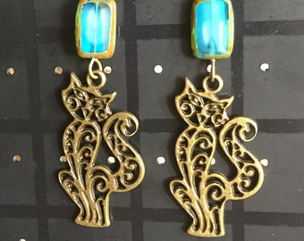 Bronze cat earrings- turquoise Picasso table cut czech glass beads