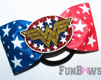Tail-less Ombre Wonder Woman glittery   -  Allstar cheer bow  by Funbows