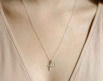 Sterling Cross Necklace- double charm 925 sterling silver religious necklace