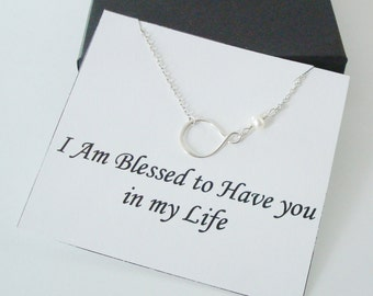Eternity Infinity Charm with White Pearl Silver Necklace ~~Personalized Jewelry Card for Bridal Party, Best Friend, Sister, Mom, Step Mom