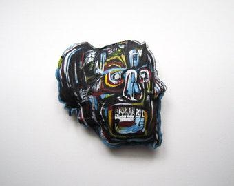 Jean Michel Basquiat big skull American black artist grunge loft decor abstract modern wall art New York style urban doll art unisex gift