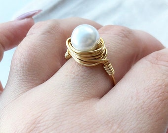 Gold Pearl Ring- Silver Pearl Ring- White Pearl Ring- Pearl Jewelry- Pearl Jewellery- Pearl Ring- White Purple Ring- White Ring- Pearl