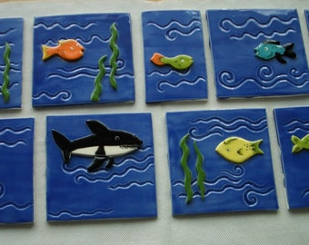 ST1 - FISH TILES Set - Ceramic Tiles