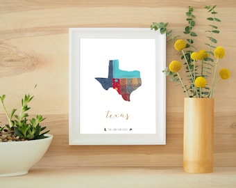 Texas State Recycled Fabric Poster 8x10