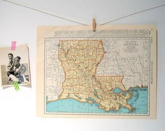 Old tennessee map etsy kentucky and tennessee map louisiana map us state map 1936 vintage map from gumiabroncs Choice Image