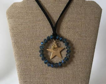 Suede long necklace, ring and star accounts.