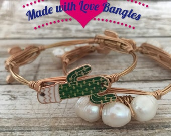 Cactus Bangle Bracelet  *Bourbon and Boweties Inspired* Three Stone Bangle