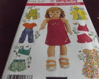 Doll Clothes Pattern Simplicity 4654