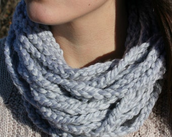 EASTSHORE SCARF | Cozy Circle Scarf | Crochet Scarf | Gifts for Her | Winter Fashion | Women's Scarves | Grey Scarf | Under 30
