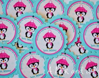 Penguin Winter Onderland / Wonderland Birthday or Shower Favor Tags or Stickers in Pink and Teal Blue Shower Decoration