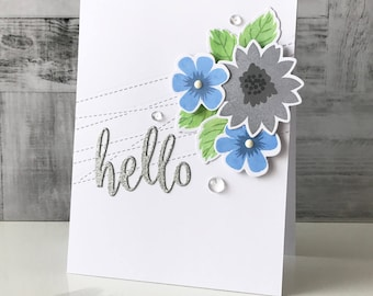 Glitter Floral Hello Card