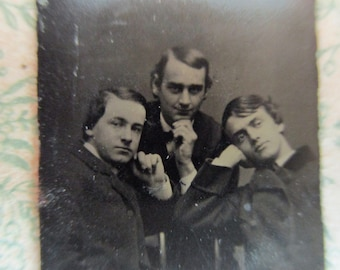 unique antique miniature gem tintype photo - 1800s, three men with pensive poses