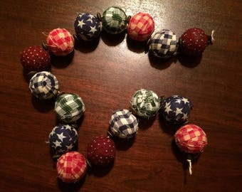 "2"" rag ball country style garland"