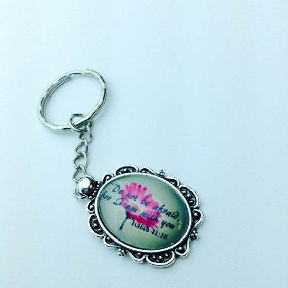 """JW Keychain Flower Isaiah 41:10 """"Do not be afraid, for I am with you"""" (SKU 41)"""