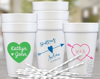 Heart Monogram Wedding Party Cups   social graces and Co