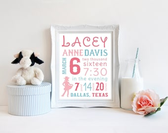Cowgirl Print - Cowgirl Nursery Decor - Country Girl Nursery - Little Cowgirl Baby Room - Baby Girl Western Print - Horse Girl Bedroom Decor