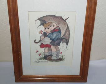 """Finished counted cross stitch """"Umbrella Children in the Rain"""" Framed/matted"""