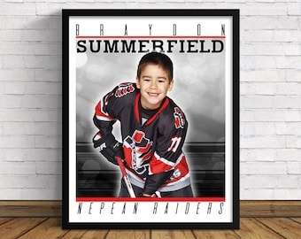 """Your Own Custom Sports Poster   16""""x 20""""   Perfect Gift for Hockey Lovers"""