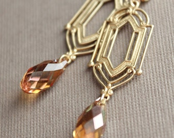 Brass Art Deco Earrings - Swarovski Crystal - Gold Plated Leverback Earwires