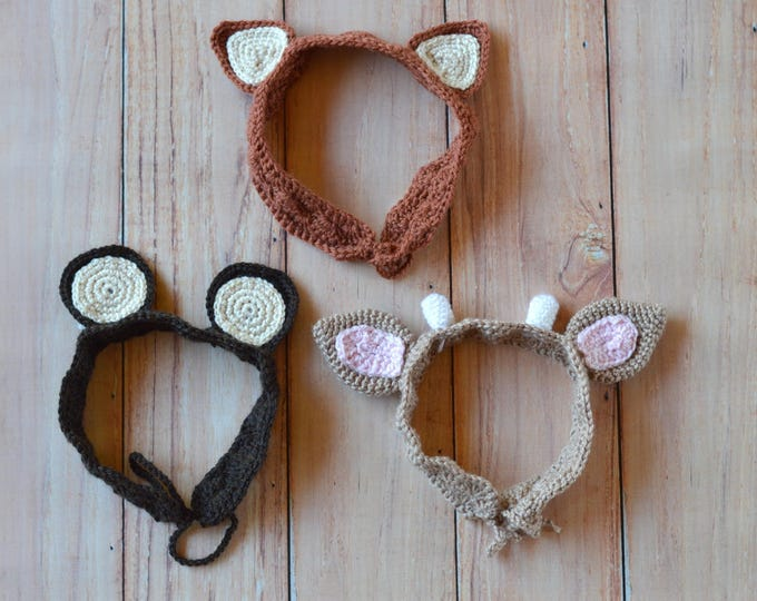 CROCHET PATTERN: Woodland Animal Ears Crochet Headbands Pdf  DOWNLOAD