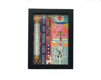 Music Goes Round Holiday Themed 5 x 7 Original Mixed Media Collage Art Framed Home Decor