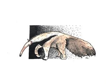 Anteater original watercolour/fineliner artwork