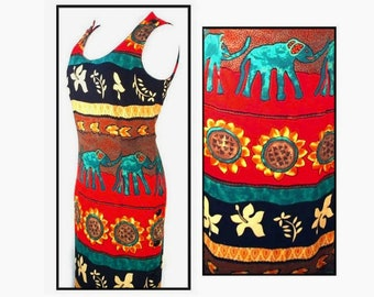 80's vintage fitted maxi dress // made in USA // tank sun dress // botanical floral and elephant print // size S