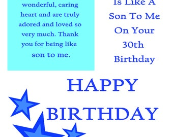 Like a Son 30 Birthday Card with removable laminate