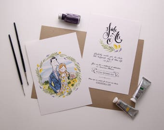 Illustrated Wedding Invitation - watercolour illustration, bespoke stationery, wedding illustration, calligraphy