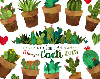 Watercolor Cactus Clipart - Watercolor Cacti and Plants Download - Instant Download - Cute Succulent Border
