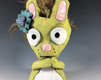 Rebecca Rabbit // Yellow // Flower in Ear // Cute // Bunny // Planter // Succulent Pot // Small Sculpture // Ceramic // Home // Office