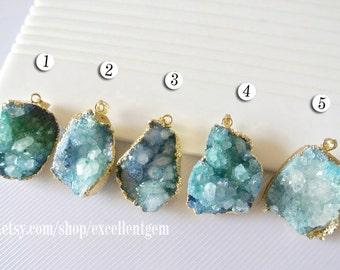 Druzy Druzy pendant Geode pendant gemstone stone pendant 24k Gold plated Edge Druzy in blue druzy Jewelry making JSP-5552