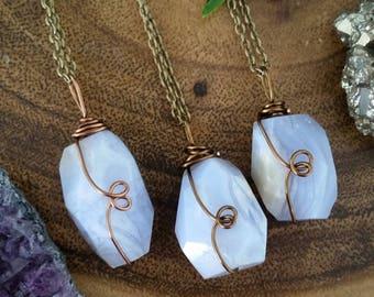 Blue lace agate necklace, blue lace agate, agate crystal, blue agate