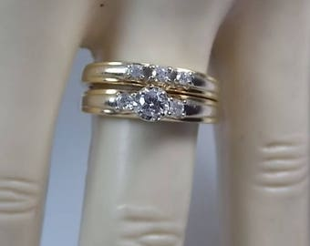 Diamond Bridal Set .37Ctw YG/WG Accents 14K 6grams Size 6.75