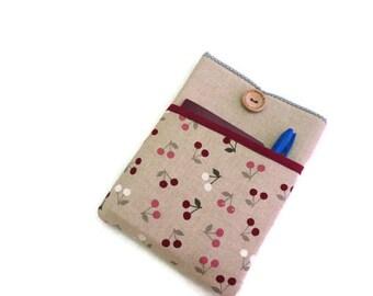 Padded Cover for iPad Mini 1 2 3 4, iPad Mini Sleeve Bag, iPad mini sleeve, iPad mini case, iPad mini cover - cherries Fabric