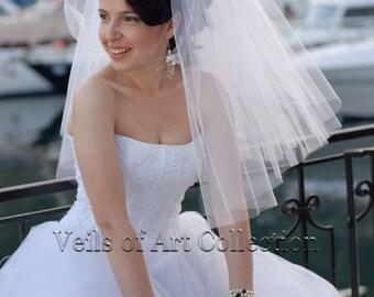 DIY Wedding Veil Pattern Designer 2 Tier Shoulder Length Square Cut Bridal Wedding Veil