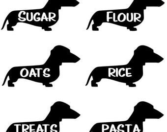 Custom Kitchen Canister Labels Dachshund Decals 6 pc