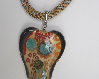 SALE  SALE  Melanie Moertel, Artist Large Focal Lampwork Bead on Silk Cord Kumihimo Necklace, Removeable Bail