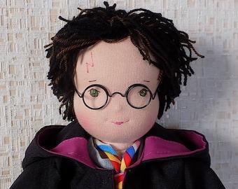 Harry Potter soft doll, Rag doll boy Harry Potter, textile doll boy, fabric doll boy, cloth doll boy, waldorf doll boy, soft doll boy