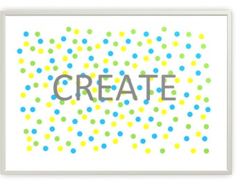 Create in Cool Colours Nursery Printable, Digital Downloads, PDF & JPG Format