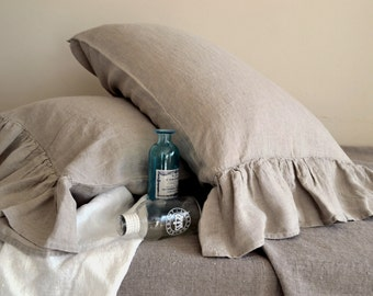 Natural linen pillow case with ruffle / stonewashed linen/ Pure linen bedding